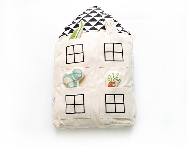 imaginative play interactive house pillow for nursery decor or kids room decor - fair trade and ethical product
