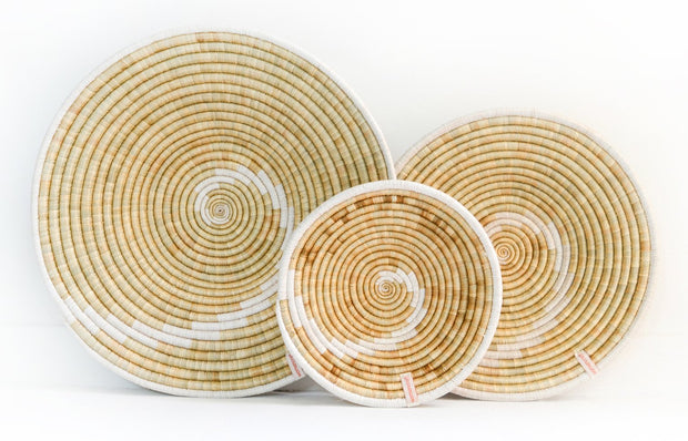 Fair trade, ethically made, neutral monochrome African wall baskets for interior decor