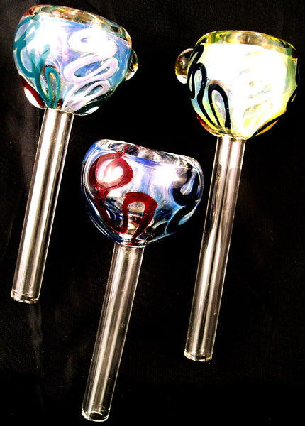 2nd QUALITY 9mil DECORATED GLASS BOWL SLIDER WITH RUBBER