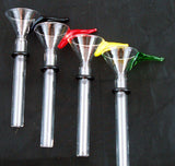 "8mil CLEAR GLASS PULL STEM BOWL/SLIDER WITH COLORED HANDLE. rubber ""O"" ring included. AC-8CH"