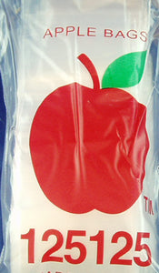 PACK OF 100 CLEAR PLASTIC APPLE BAGGIES.  BGY-1