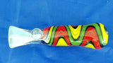 "3.25"" GLASS RASTA ZIGZAG DECORATED CHILLUM/ONE HITTER.   CLM-14"