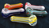 "3"" DECORATED COLORFUL ECONOMICAL GLASS HAND PIPE. ""Quantity Discount Available"" EC-PNT-3A"