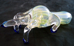"""STICK IT TO EM"" BEAUTIFUL 6"" GLASS FINGER SMOKING PIPE. PV-3"