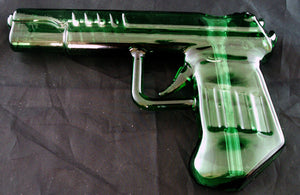 "8"" HAND HELD COLORED GLASS GUN BUBBLER. GBUB-GUN"
