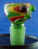 19mil RASTA COLORED GLASS ON GLASS BOWL. GGB-37B