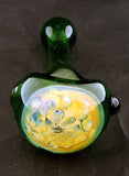 "4"" HONEYCOMBE DECORATED GREEN GLASS HAND PIPE. GPC-33"