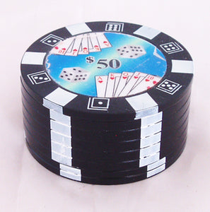 "2""dia  THREE CHAMBER POKER CHIP DESIGN GRINDER. GRPCP-3"