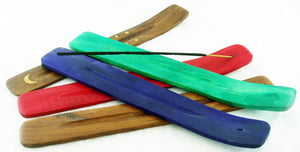 PACK OF 10 WOOD INCENSE BURNER TRAYS. MIXED COLORS. INC-BNX