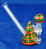 "4"" HIGH QUALITY DECORATED RASTA COLORED GLASS ON GLASS OIL WATERPIPE . 10mm GLASS NAIL AND DOME.  ON SALE.  KL01"