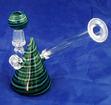 "4"" HIGH QUALITY DECORATED COLORED GLASS ON GLASS OIL WATERPIPE . 10mm GLASS NAIL AND DOME.  ON SALE.  KL02"