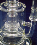 "8"" HIGH QUALITY HEAVY CLEAR GLASS ON GLASS PERCOLATED OIL WATERPIPE . 10mm GLASS NAIL AND DOME.  ON SALE.  KL03"