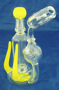 "7"" HIGH QUALITY CLEAR GLASS ON GLASS PERCOLATED OIL WATERPIPE WITH COLOR ACCENTS. 14mm GLASS NAIL AND DOME.  ON SALE.  KL05"