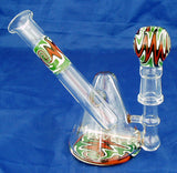 "5"" HIGH QUALITY DECORATED COLORED GLASS ON GLASS OIL WATERPIPE . 14mm GLASS NAIL AND DOME. KL06"