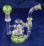 "4"" HIGH QUALITY CLEAR GLASS ON GLASS OIL WATERPIPE WITH COLORED ACCENTS. 10mm GLASS NAIL AND DOME. ON SALE.  KL08"