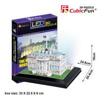 DIY 3D WHITE HOUSE BUILDING PUZZLE. LED LIGHT UP.  L504H
