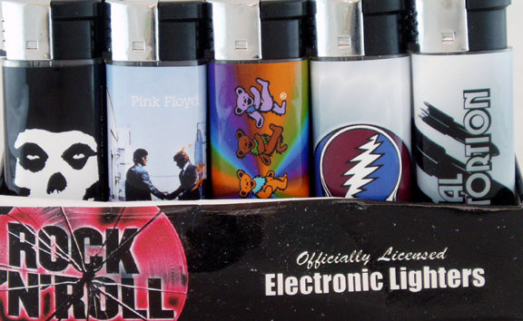 RETAIL BOX OF 50 REFILLABLE ROCK N ROLL BUTANE LIGHTER. LTR-RK-2