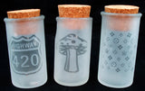 "3"" - 4"" ETCHED GLASS NUG JAR WITH MIXED DESIGNS.  NUG-7B"