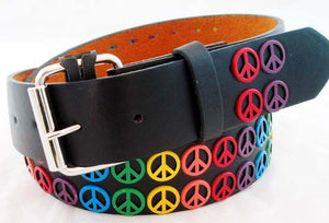 DECORATED LEATHER RAINBOW PEACE BELT. RNBW-BLT3
