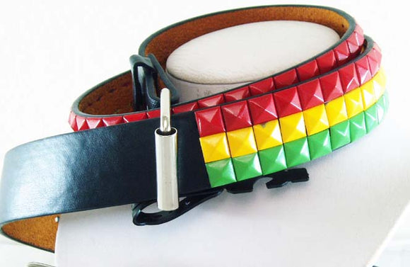 DECORATED LEATHER RASTA BELT. RST-BLT2