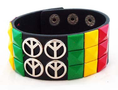DECORATED RASTA/PEACE WRIST BRACELET. RST-BR2