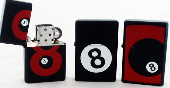 8 BALL WINDPROOF OIL LIGHTER. MIXED DESIGNS. WLTR-8BL