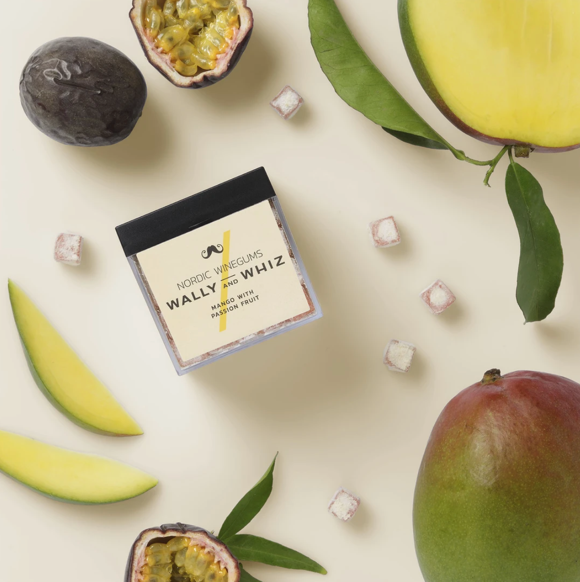 Wally and Whiz Vingummi - Mango med Passionsfrugt, cube