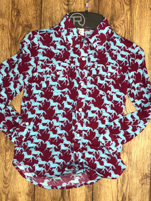 Girls Running Horse Pearl Snap Shirt (0176)