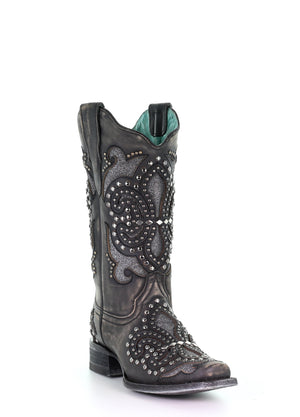 Corral Black Embroidery & Studs Square Toe (E1534)