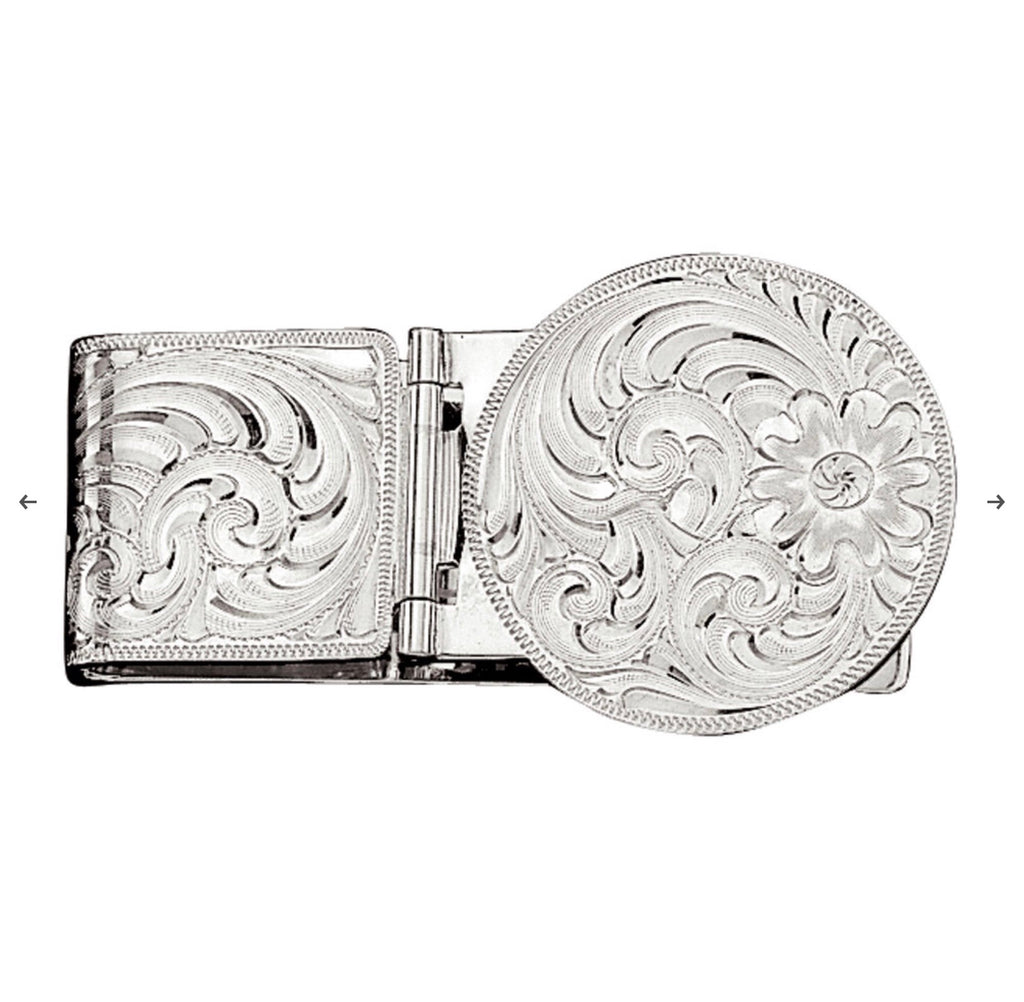 Silver Engraved Hinged Money Clip MCL22