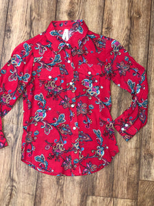 Roper Red Floral Girls Shirt (6039)