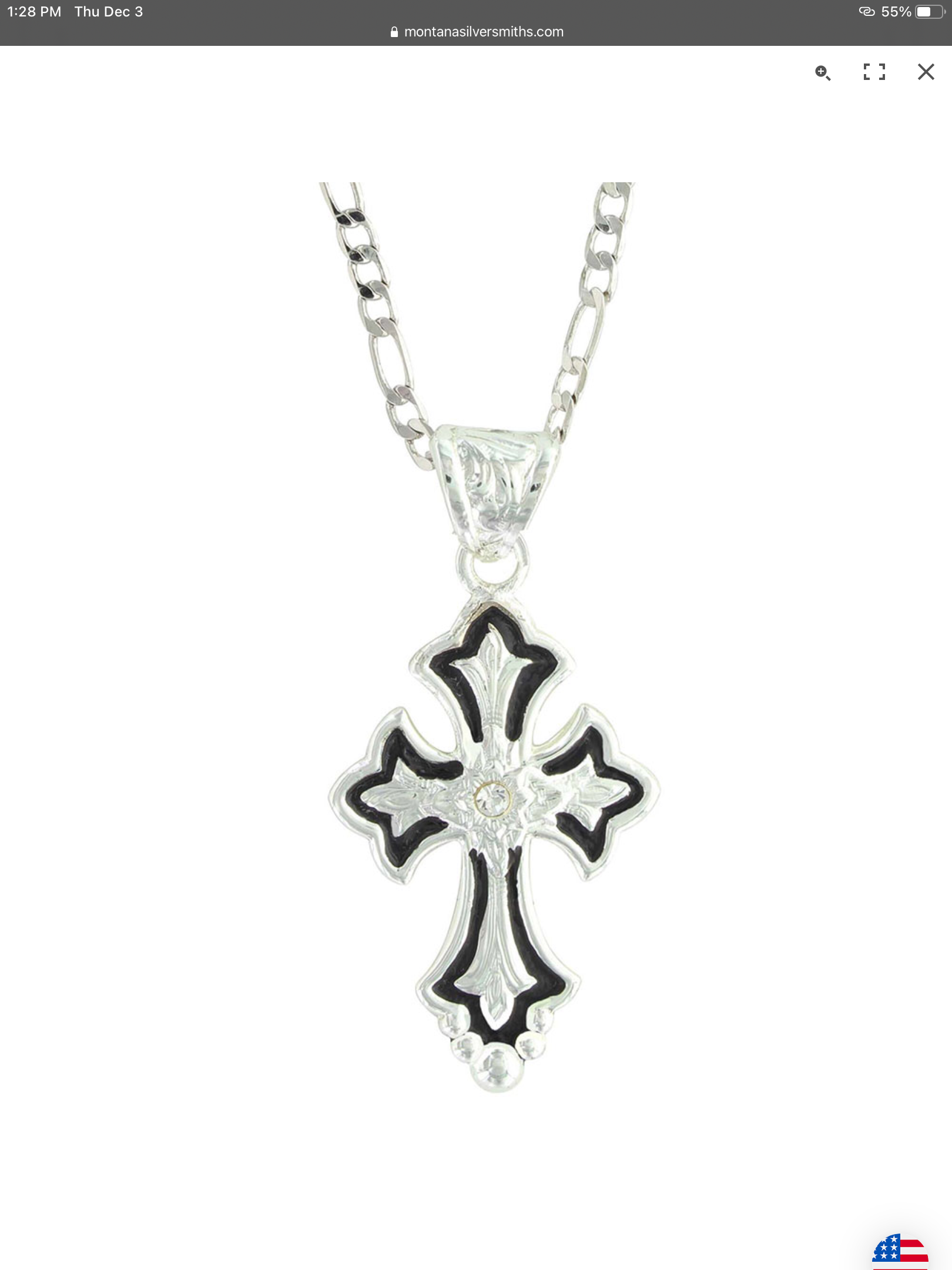 Montana Silversmith Flower on Silver and Black Cross Fleury