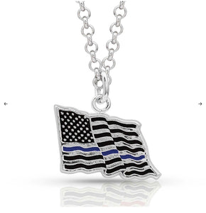 I Stand Behind the Thin Blue Line Flag Necklace NC4085TBL