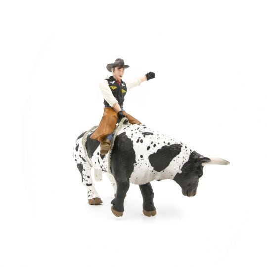 Little Busters Bucking Bull & Rider Black and White Toy