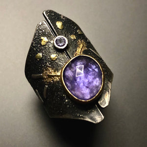 Tanzanite shield ring.  Size 7.5.