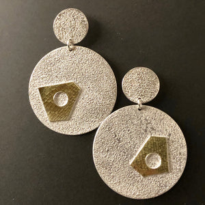 Asymmetrical gold and sterling silver earrings