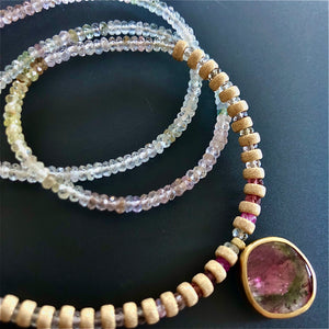 Tourmaline and sapphires necklace