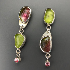 Watermelon tourmaline and peridot post earrings