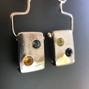 Multi-color sapphire tile earrings