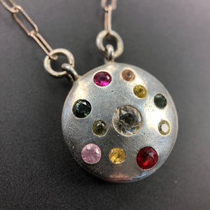 Multi-color sapphires, ruby, and spinel necklace