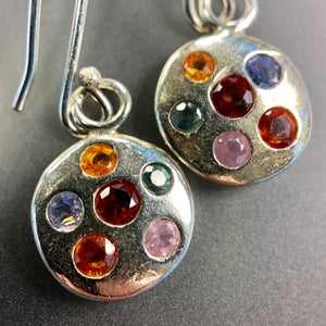 Fancy multicolor sapphire dangle earrings