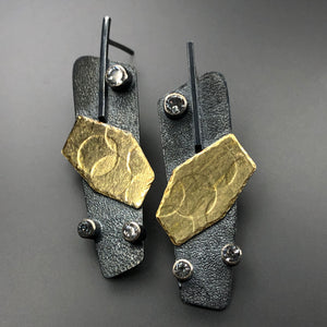 18K gold, blackened sterling silver, and white topaz earrings