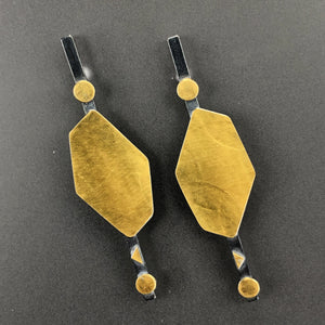 18K gold hexagon and blackened sterling silver earrings
