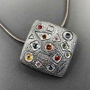 Square multi-color sapphires and pink spinel necklace