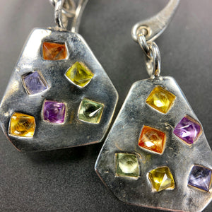 Pastel multi-color sapphire earrings