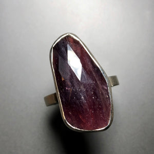 Elongated ruby ring in sterling silver