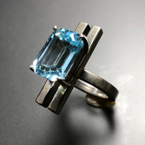 Sky blue topaz cocktail ring. Size 6
