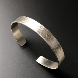 Narrow sterling silver cuff