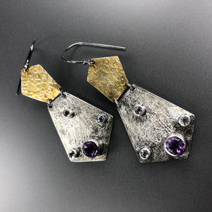 Amethyst and 23.5K gold earrings