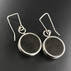 Full Moon earrings.  Concrete and sterling silver
